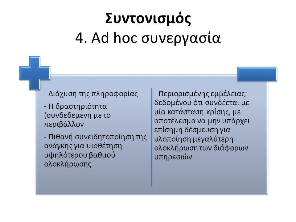 Συντονισμός 4. Ad hoc συνεργασία