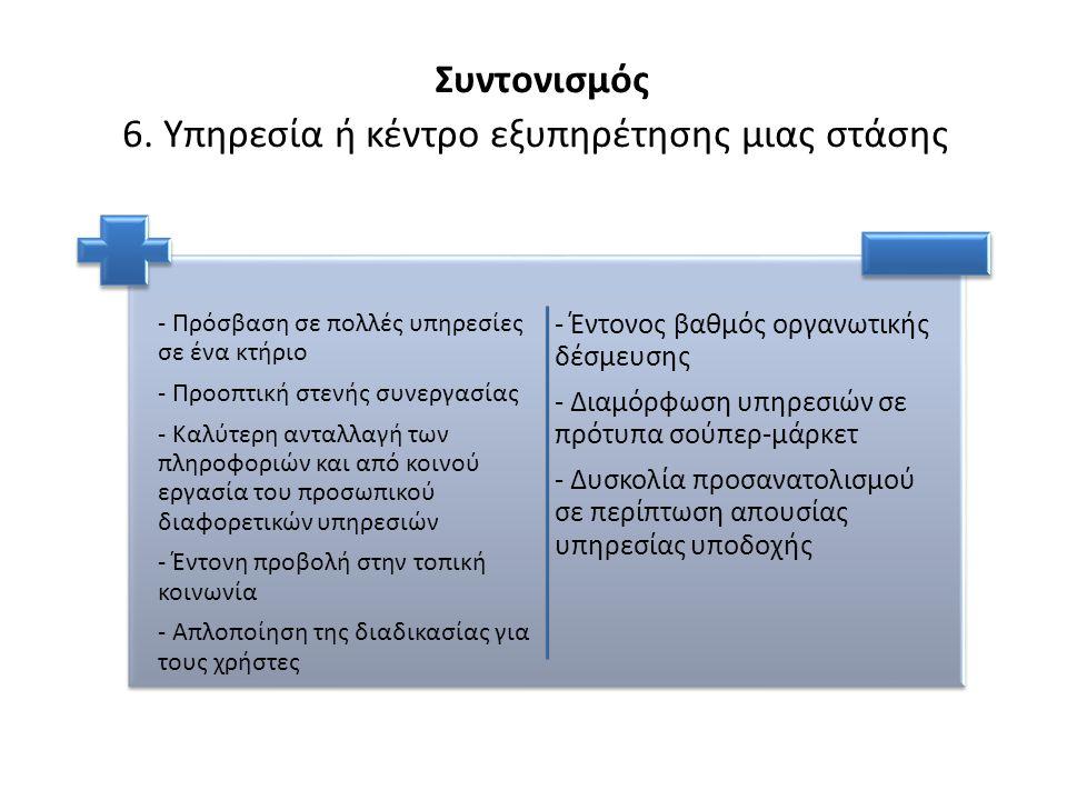 Συντονισμός 6. Υπηρεσία ή κέντρο εξυπηρέτησης μιας στάσης