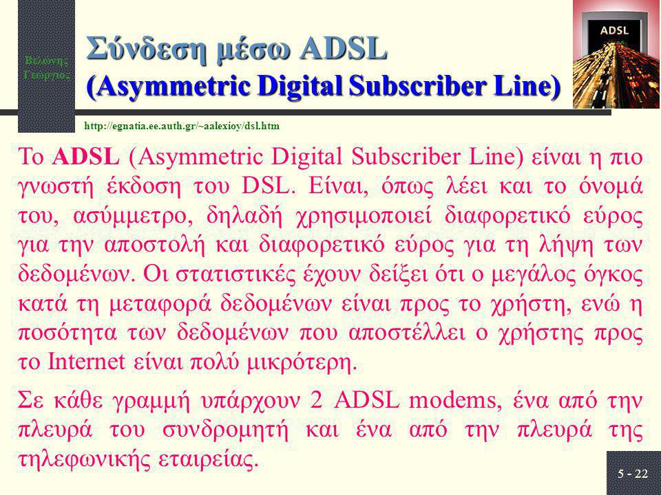 Σύνδεση μέσω ADSL (Asymmetric Digital Subscriber Line)