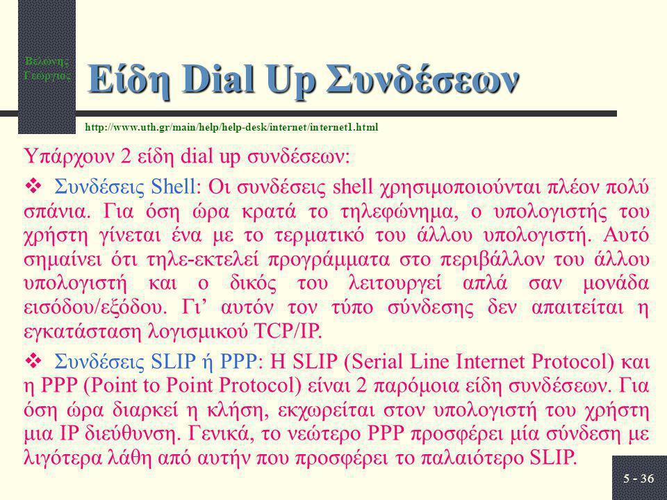Είδη Dial Up Συνδέσεων Υπάρχουν 2 είδη dial up συνδέσεων:
