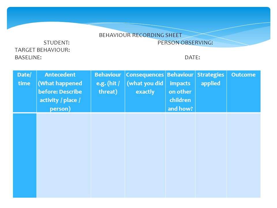 BEHAVIOUR RECORDING SHEET STUDENT: PERSON OBSERVING: