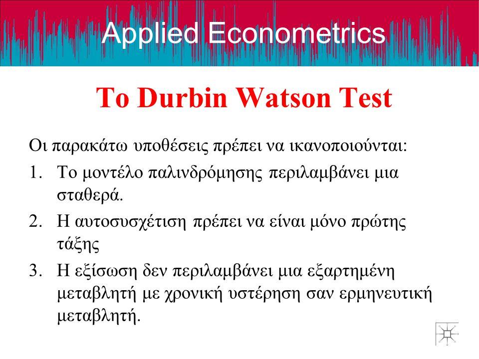 Το Durbin Watson Test Οι παρακάτω υποθέσεις πρέπει να ικανοποιούνται: