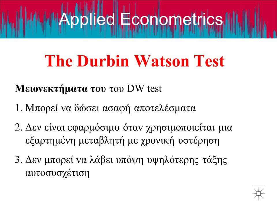 The Durbin Watson Test Μειονεκτήματα του του DW test