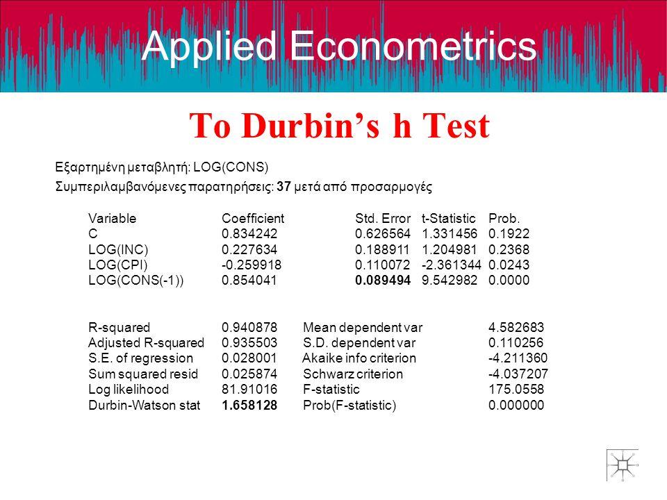 Το Durbin's h Test Εξαρτημένη μεταβλητή: LOG(CONS)