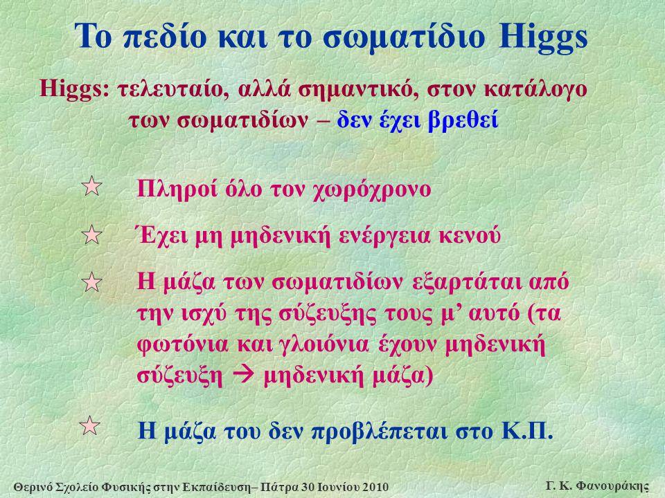 Το πεδίο και το σωματίδιο Higgs