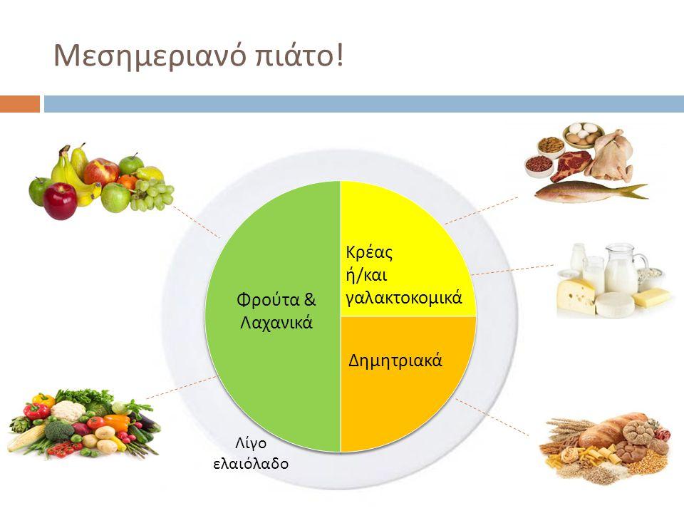 Μεσημεριανό πιάτο! Κρέας ή/και γαλακτοκομικά Φρούτα & Λαχανικά