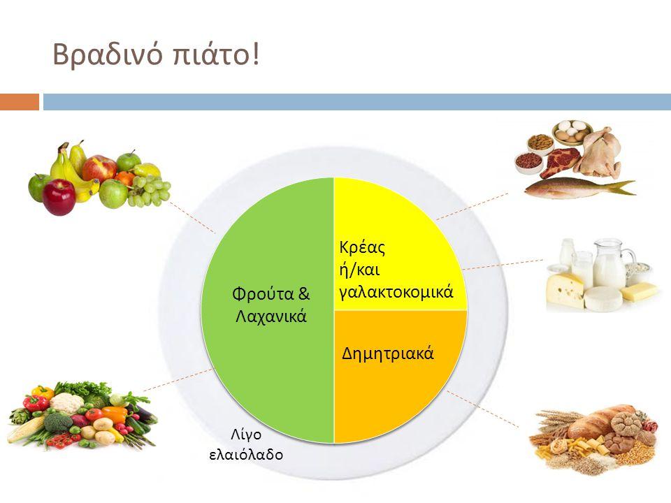 Βραδινό πιάτο! Κρέας ή/και γαλακτοκομικά Φρούτα & Λαχανικά Δημητριακά