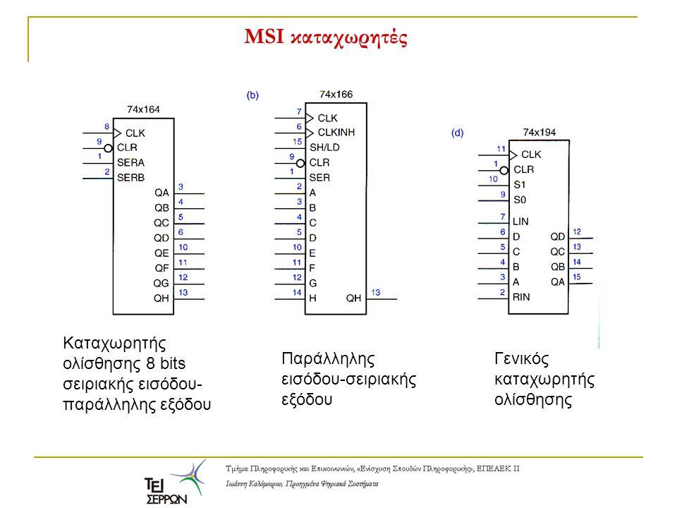 MSI καταχωρητές Καταχωρητής ολίσθησης 8 bits σειριακής εισόδου-παράλληλης εξόδου. Παράλληλης εισόδου-σειριακής εξόδου.
