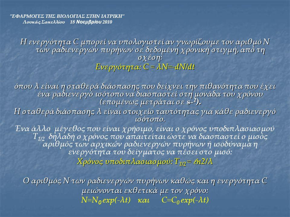 Ενεργότητα: C = λΝ=-dN/dt