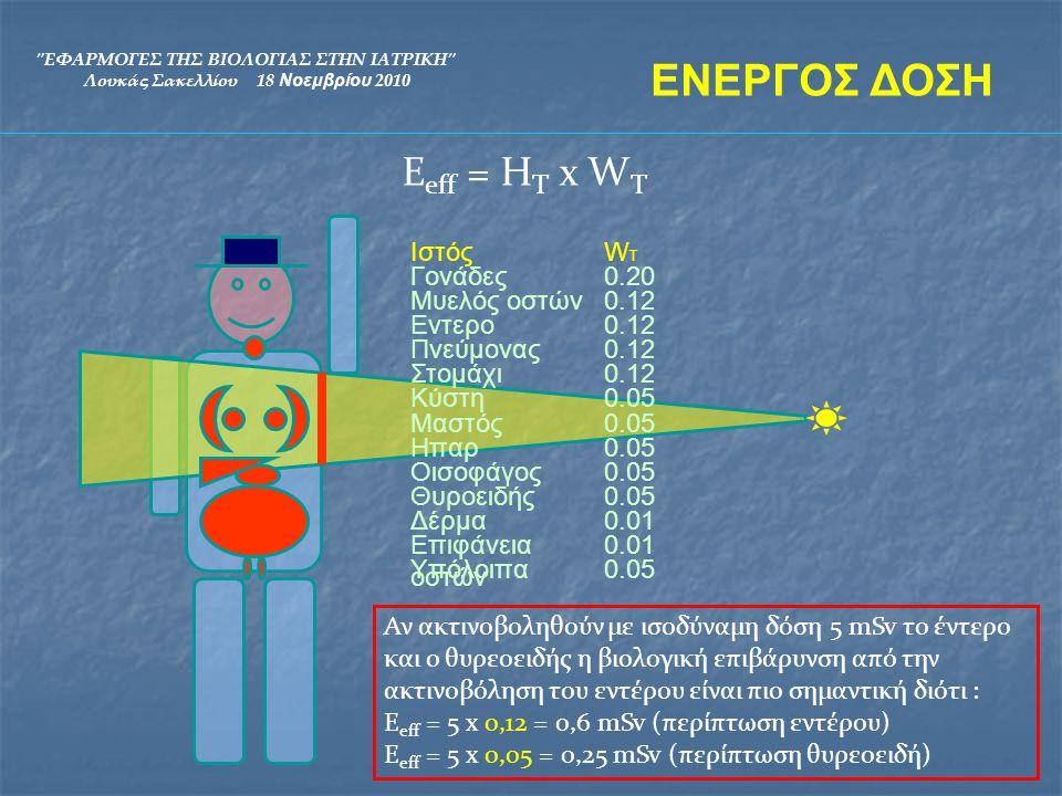 ΕΝΕΡΓΟΣ ΔΟΣΗ Εeff = HT x WT Ιστός WT Γονάδες 0.20 Μυελός οστών 0.12