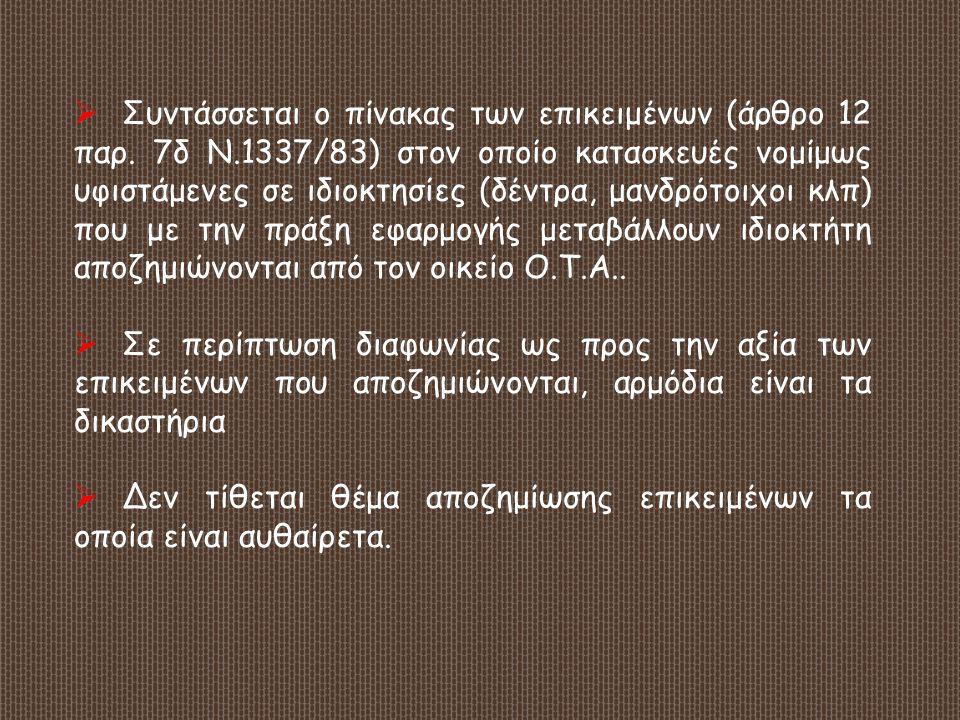 Συντάσσεται ο πίνακας των επικειμένων (άρθρο 12 παρ. 7δ Ν
