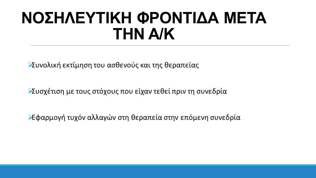 ΝΟΣΗΛΕΥΤΙΚΗ ΦΡΟΝΤΙΔΑ ΜΕΤΑ ΤΗΝ Α/Κ