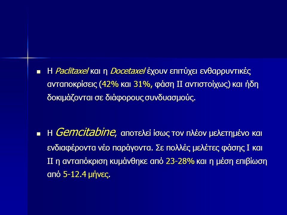 Η Paclitaxel και η Docetaxel έχουν επιτύχει ενθαρρυντικές ανταποκρίσεις (42% και 31%, φάση ΙΙ αντιστοίχως) και ήδη δοκιμάζονται σε διάφορους συνδυασμούς.