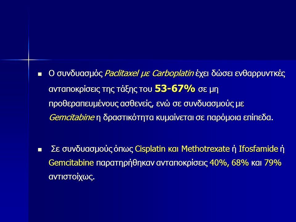 Ο συνδυασμός Paclitaxel με Carboplatin έχει δώσει ενθαρρυντκές ανταποκρίσεις της τάξης του 53-67% σε μη προθεραπευμένους ασθενείς, ενώ σε συνδυασμούς με Gemcitabine η δραστικότητα κυμαίνεται σε παρόμοια επίπεδα.
