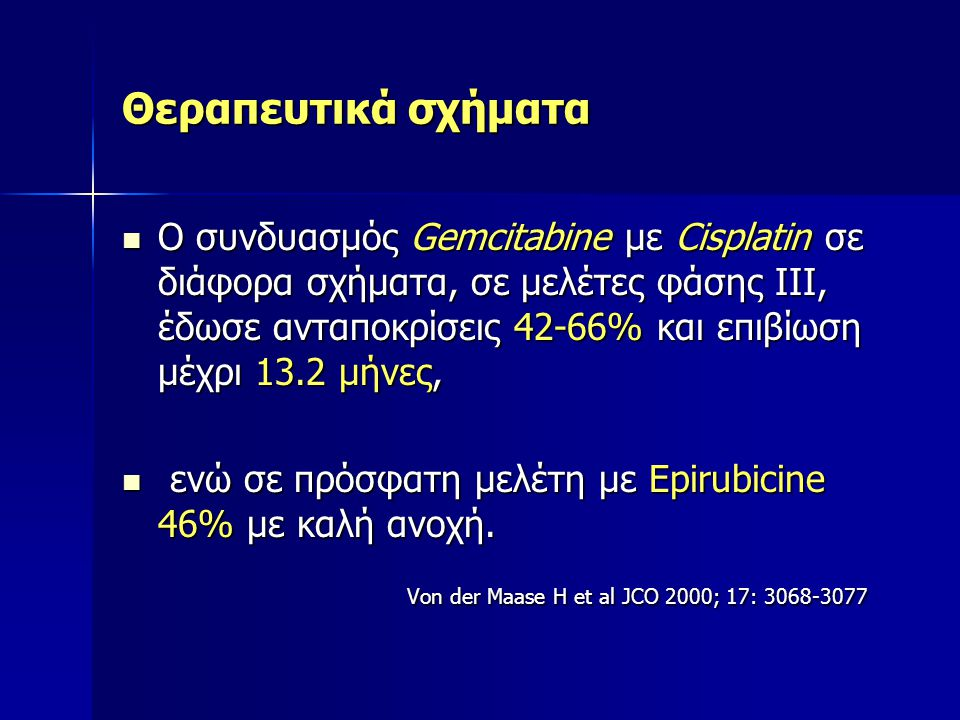 Von der Maase H et al JCO 2000; 17: 3068-3077