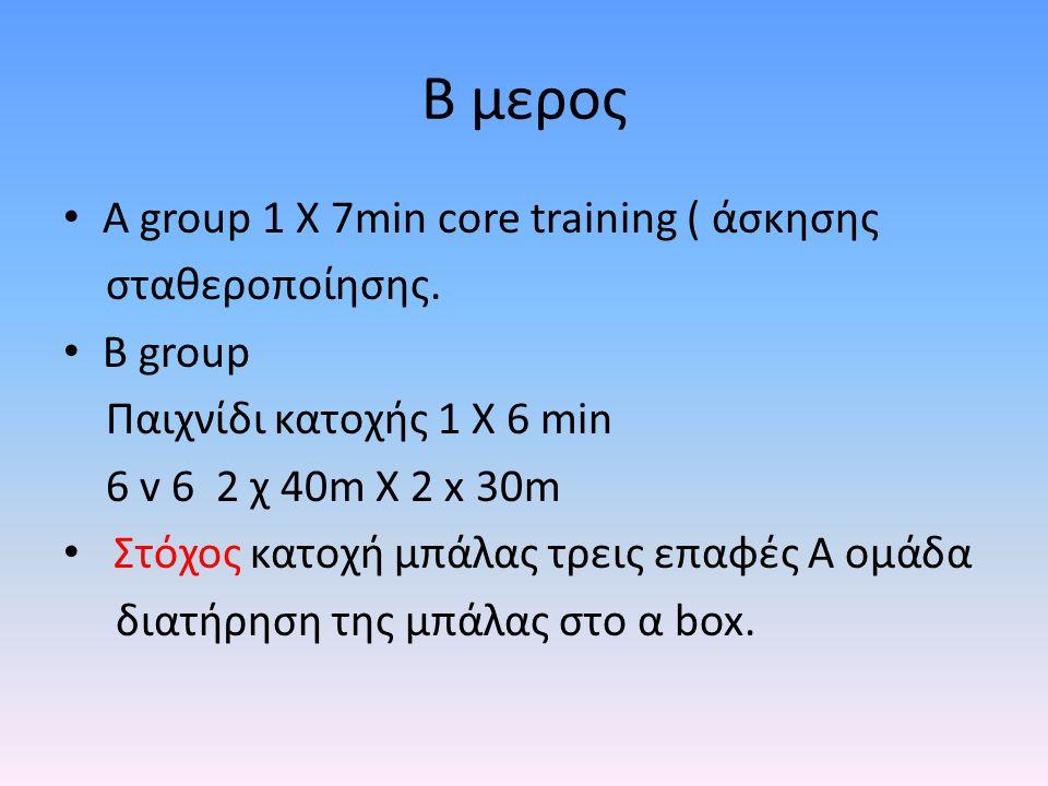 B μερος Α group 1 X 7min core training ( άσκησης σταθεροποίησης.