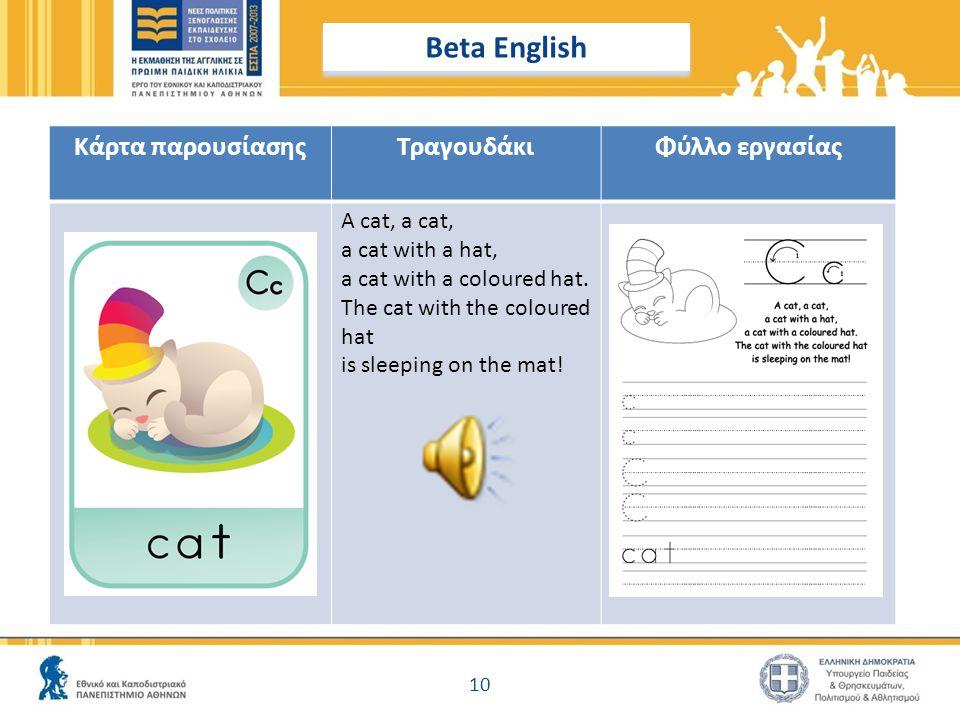 Beta English Κάρτα παρουσίασης Τραγουδάκι Φύλλο εργασίας A cat, a cat,