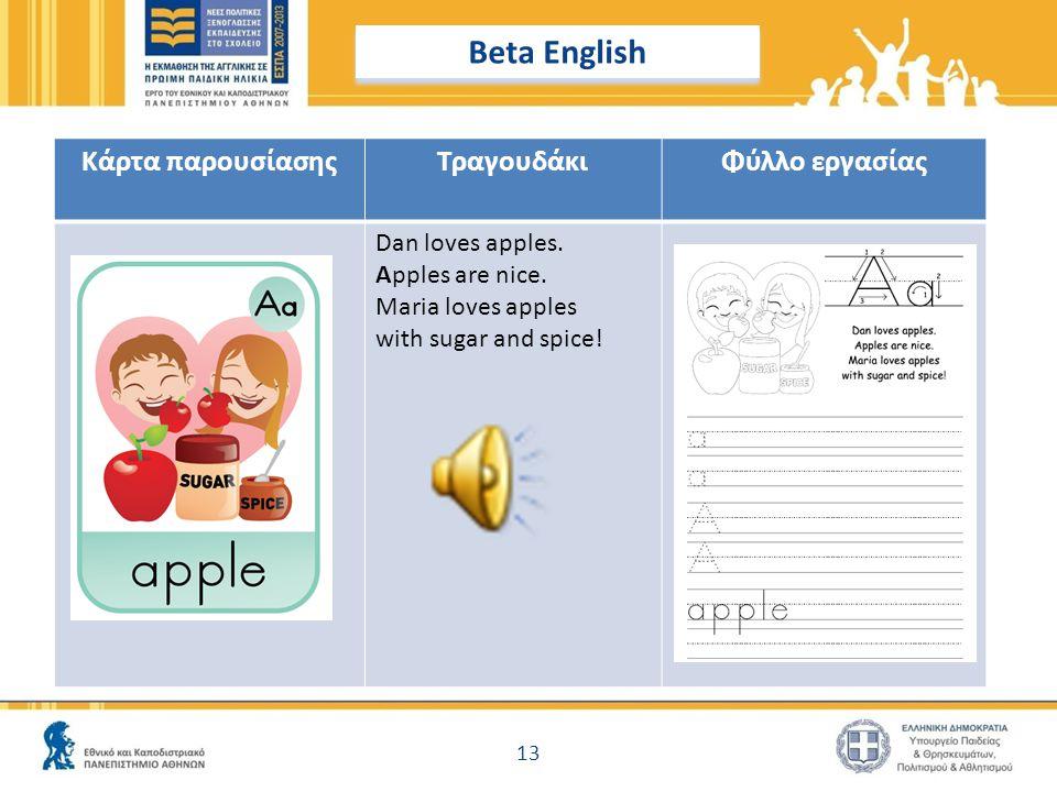 Beta English Κάρτα παρουσίασης Τραγουδάκι Φύλλο εργασίας