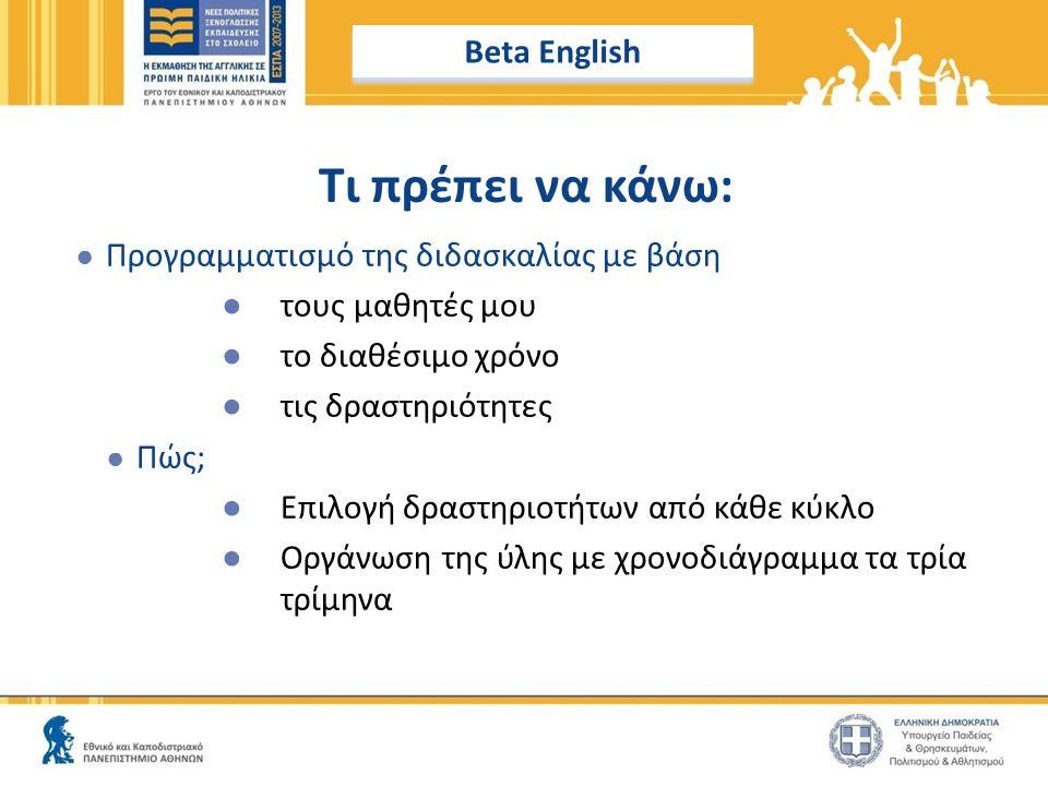 Τι πρέπει να κάνω: Beta English Προγραμματισμό της διδασκαλίας με βάση