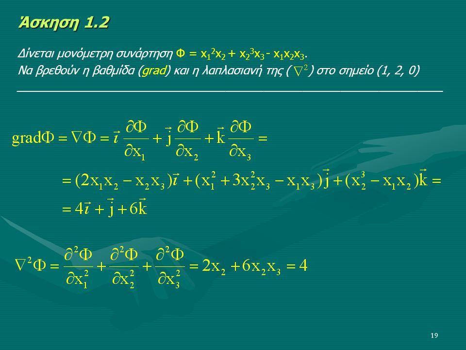 Άσκηση 1.2 Δίνεται μονόμετρη συνάρτηση Φ = x12x2 + x23x3 - x1x2x3.