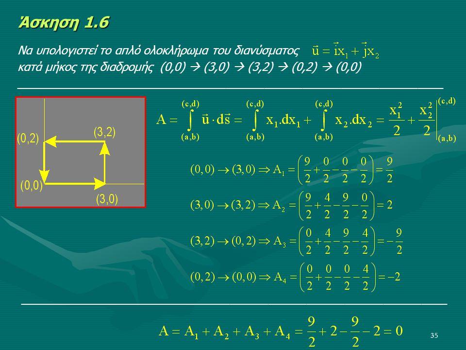 Άσκηση 1.6 Να υπολογιστεί το απλό ολοκλήρωμα του διανύσματος
