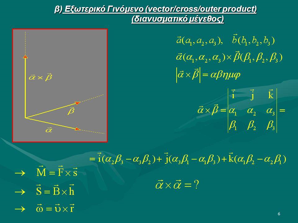 β) Εξωτερικό Γινόμενο (vector/cross/outer product)