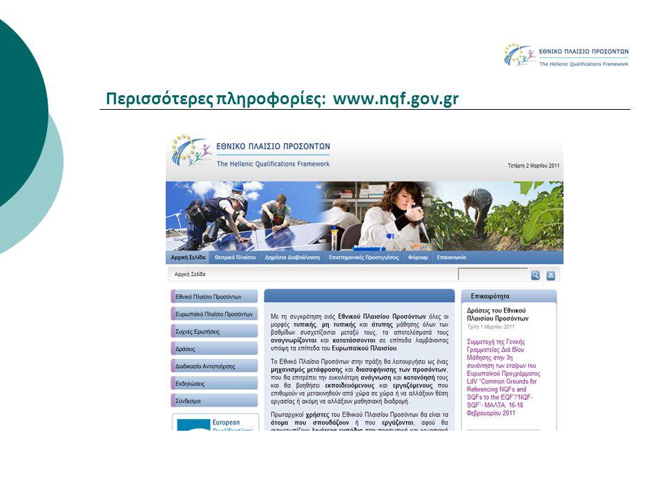 Περισσότερες πληροφορίες: www.nqf.gov.gr