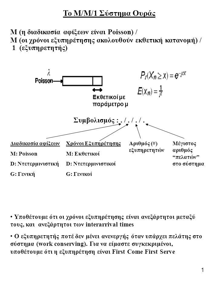 Το Μ/Μ/1 Σύστημα Ουράς Μ (η διαδικασία αφίξεων είναι Poisson) /