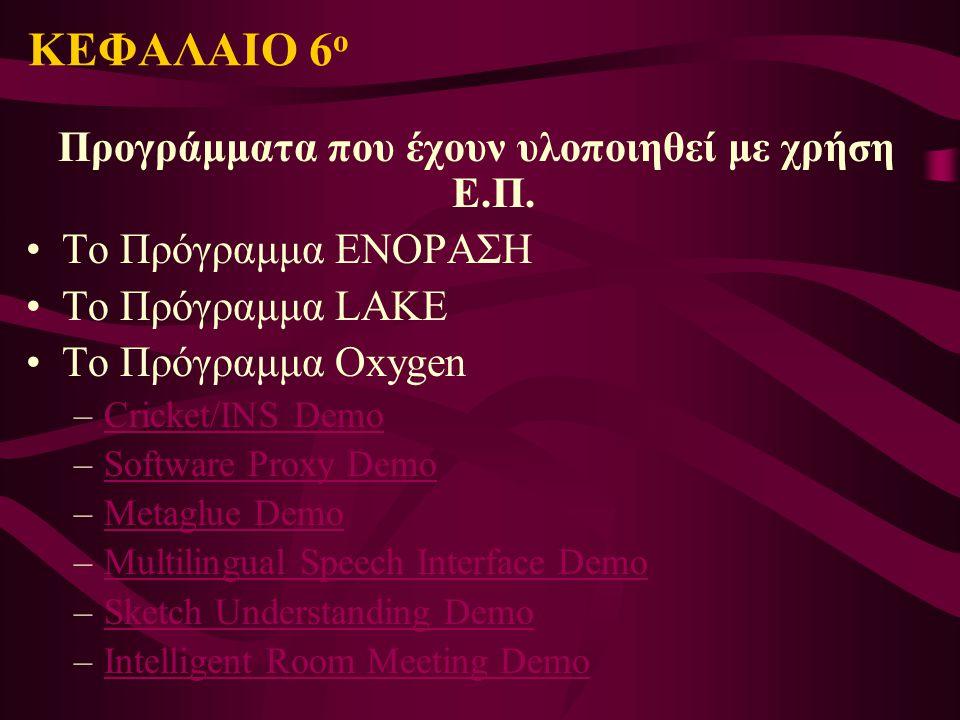 Προγράμματα που έχουν υλοποιηθεί με χρήση Ε.Π.