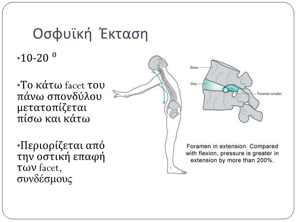 Οσφυϊκή Έκταση 10-20 ⁰. Το κάτω facet του πάνω σπονδύλου μετατοπίζεται πίσω και κάτω.