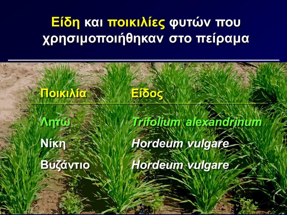 Είδη και ποικιλίες φυτών που χρησιμοποιήθηκαν στο πείραμα