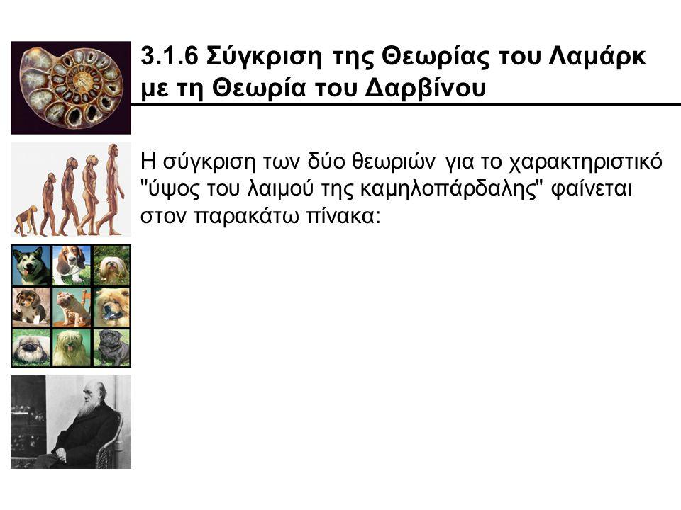 3.1.6 Σύγκριση της Θεωρίας του Λαμάρκ με τη Θεωρία του Δαρβίνου