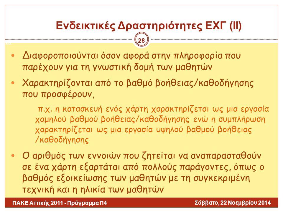 Ενδεικτικές Δραστηριότητες ΕΧΓ (ΙΙ)
