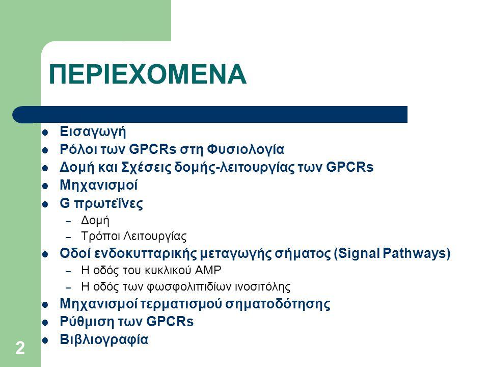 ΠΕΡΙΕΧΟΜΕΝΑ Εισαγωγή Ρόλοι των GPCRs στη Φυσιολογία