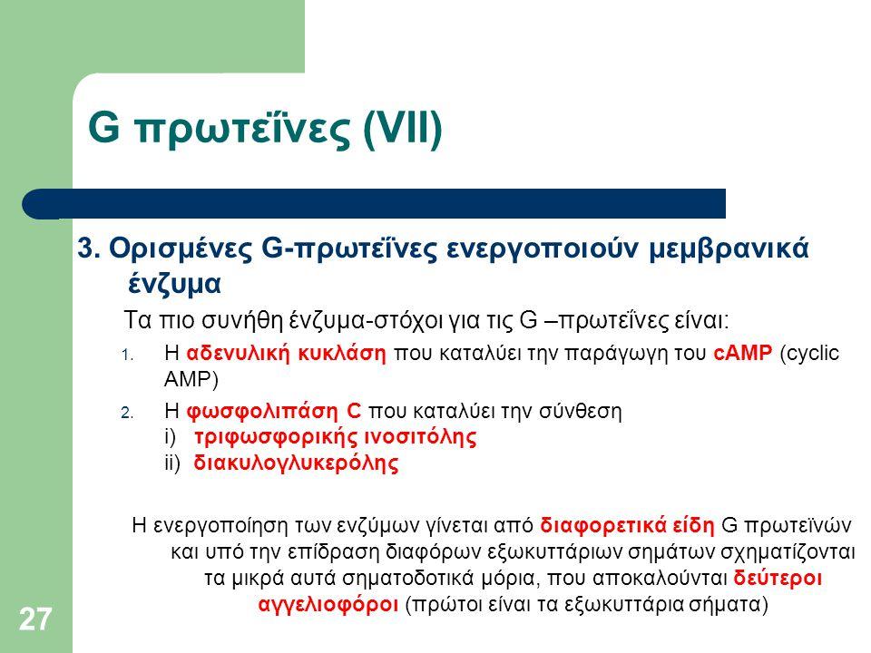 G πρωτεΐνες (VII) 3. Ορισμένες G-πρωτεΐνες ενεργοποιούν μεμβρανικά ένζυμα. Τα πιο συνήθη ένζυμα-στόχοι για τις G –πρωτεΐνες είναι: