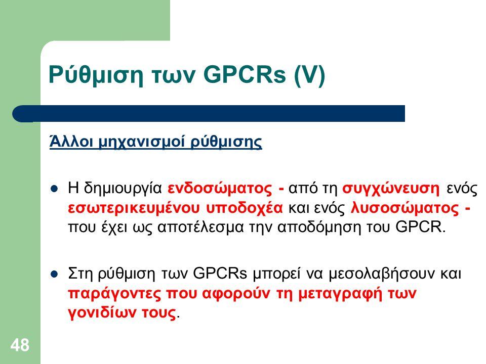 Ρύθμιση των GPCRs (V) Άλλοι μηχανισμοί ρύθμισης