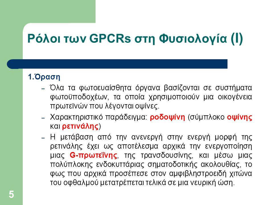 Ρόλοι των GPCRs στη Φυσιολογία (Ι)