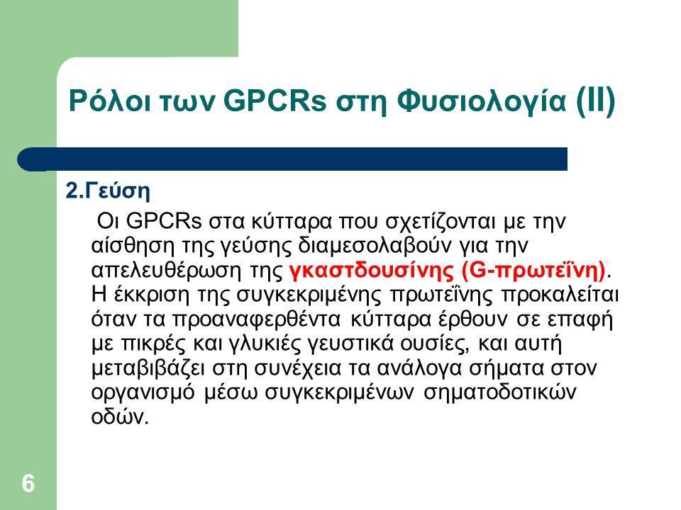 Ρόλοι των GPCRs στη Φυσιολογία (ΙΙ)