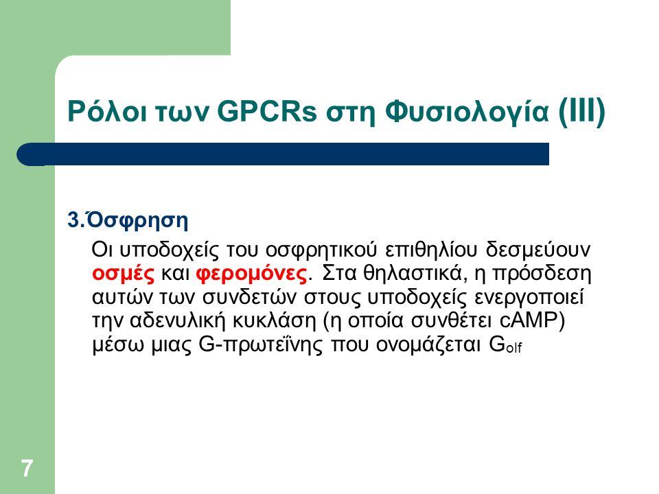 Ρόλοι των GPCRs στη Φυσιολογία (ΙΙI)