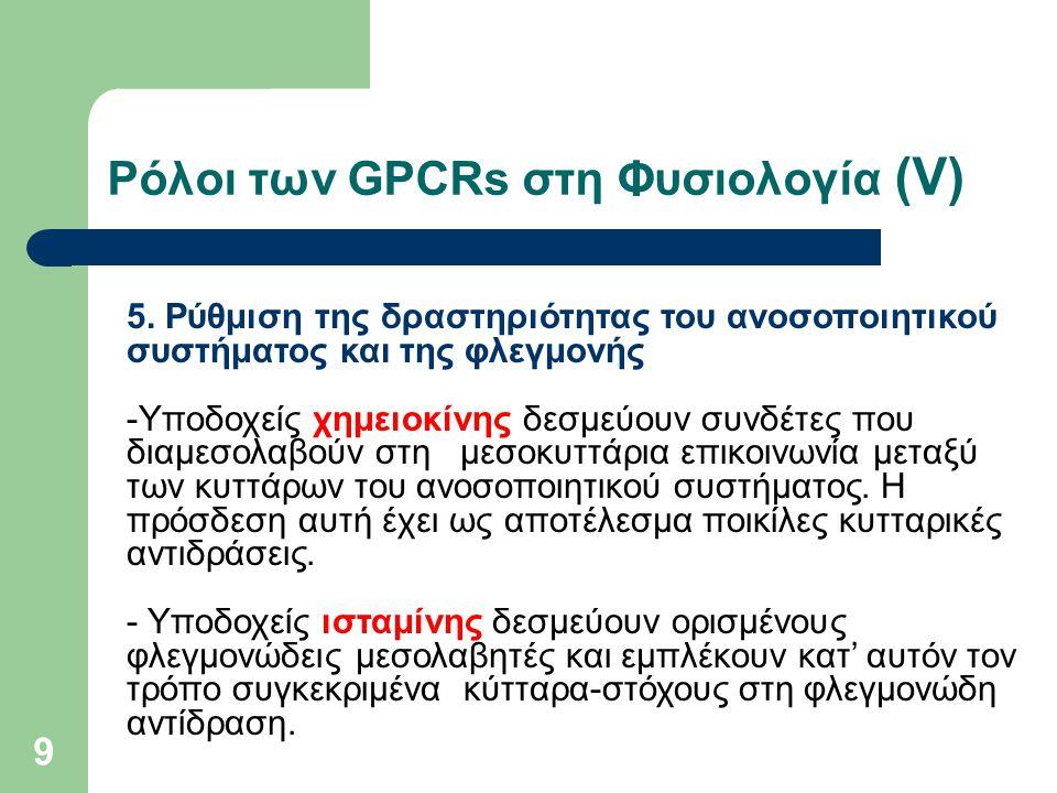 Ρόλοι των GPCRs στη Φυσιολογία (V)