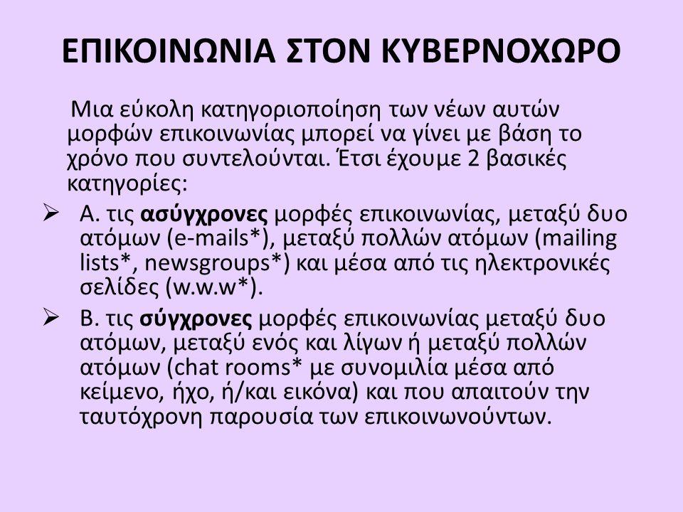 ΕΠΙΚΟΙΝΩΝΙΑ ΣΤΟΝ ΚΥΒΕΡΝΟΧΩΡΟ