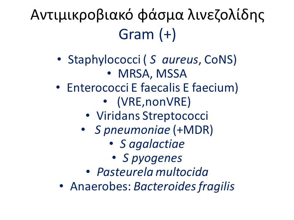 Αντιμικροβιακό φάσμα λινεζολίδης Gram (+)