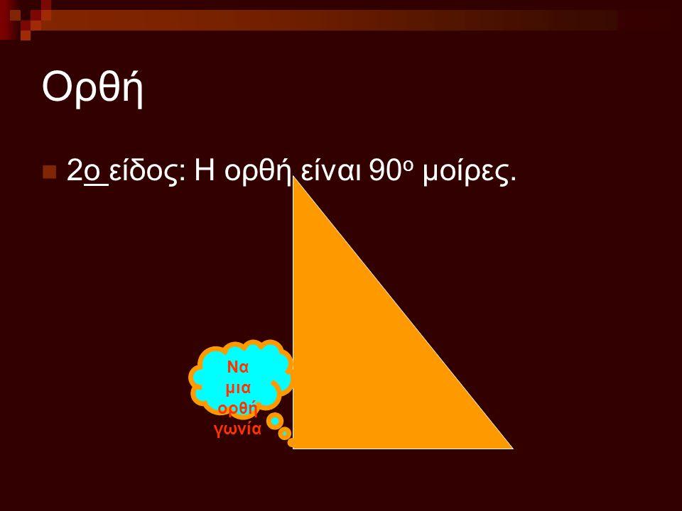 Ορθή 2ο είδος: Η ορθή είναι 90ο μοίρες. Να μια ορθή γωνία