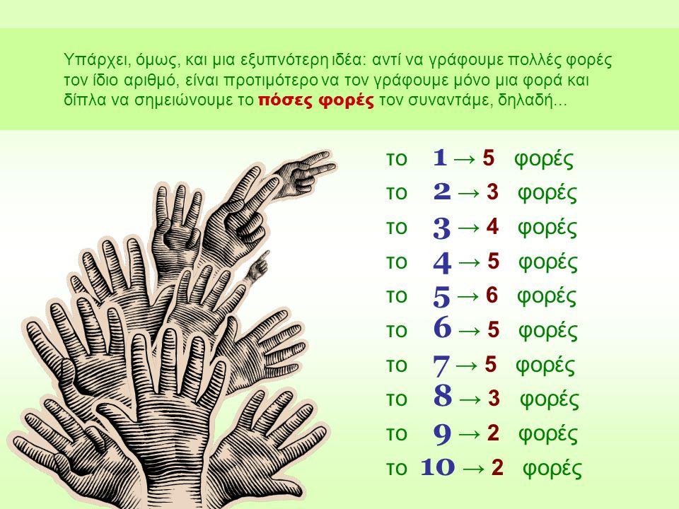 το 1 → 5 φορές το 2 → 3 φορές το 3 → 4 φορές το 4 → 5 φορές
