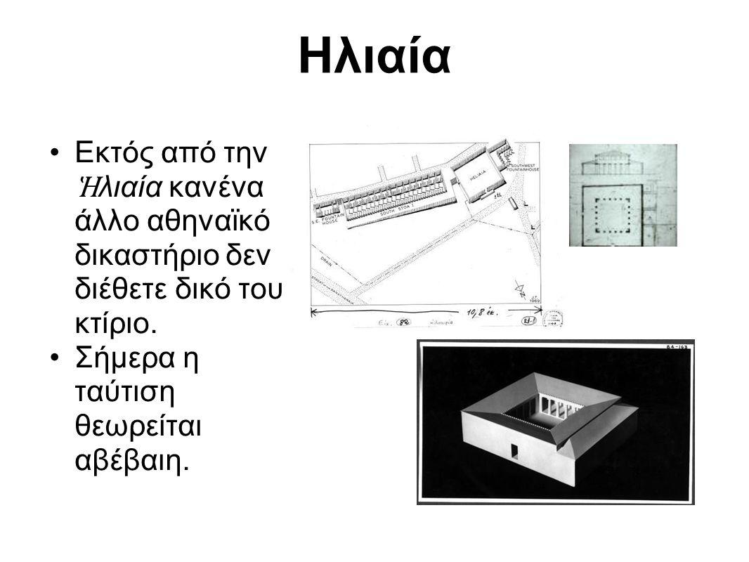 Ηλιαία Εκτός από την Ἡλιαία κανένα άλλο αθηναϊκό δικαστήριο δεν διέθετε δικό του κτίριο.