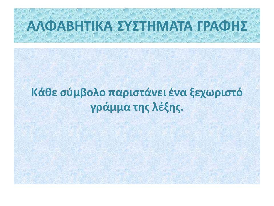 ΑΛΦΑΒΗΤΙΚΑ ΣΥΣΤΗΜΑΤΑ ΓΡΑΦΗΣ