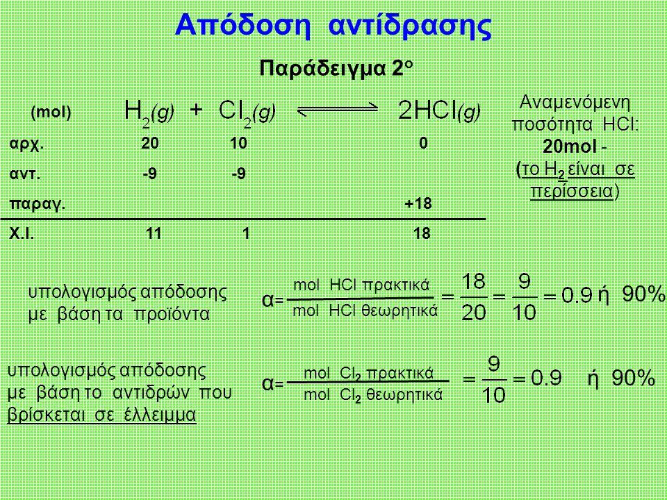 Αναμενόμενη ποσότητα ΗCl: 20mol - (το Η2 είναι σε περίσσεια)
