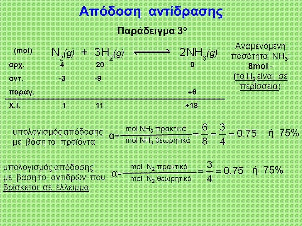 Αναμενόμενη ποσότητα NΗ3: 8mol - (το Η2 είναι σε περίσσεια)