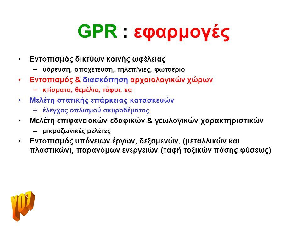 GPR : εφαρμογές Υ07 Εντοπισμός δικτύων κοινής ωφέλειας