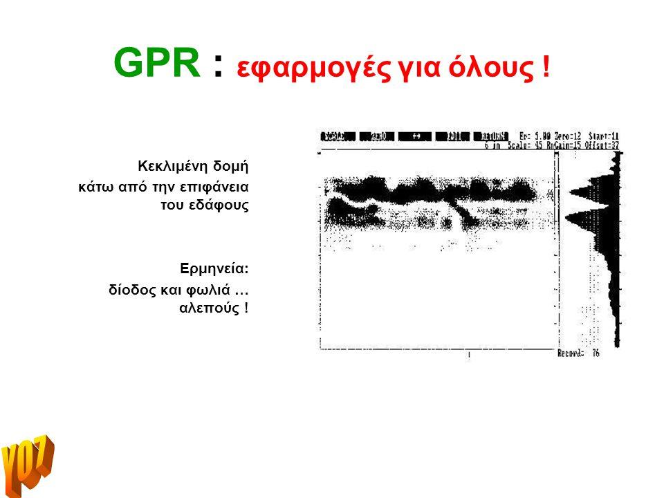 GPR : εφαρμογές για όλους !